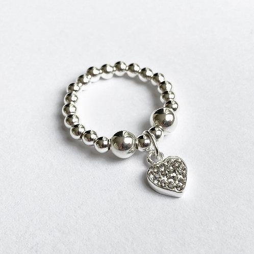 Lulu Sparkle Love Heart Ring