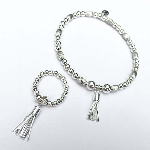Dainty Tassel Bracelet and Ring Set