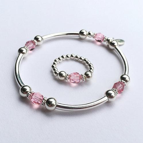 Pink Crystal Devani Bracelet and Ring Set