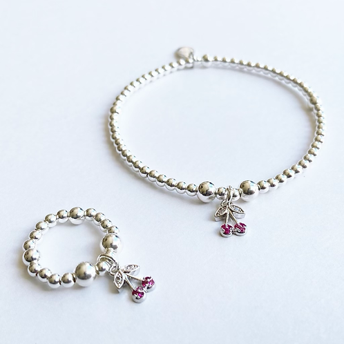 Cherrylicious  Silver Bracelet & Ring Set