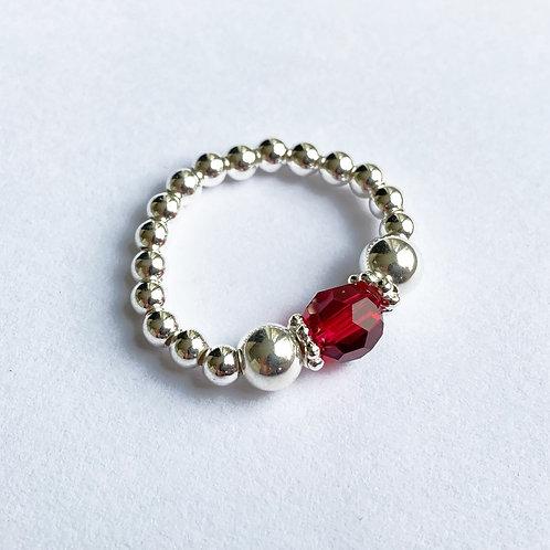 Red Devani Ring (Silver)
