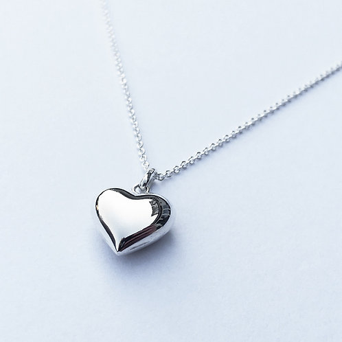 Ruby Puffed Heart Necklace