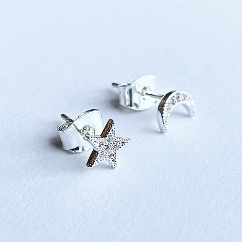 Mystical Star and Moon Studs (Silver)