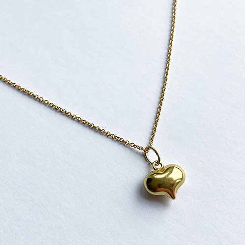 Eva Gold Puffed Heart Necklace