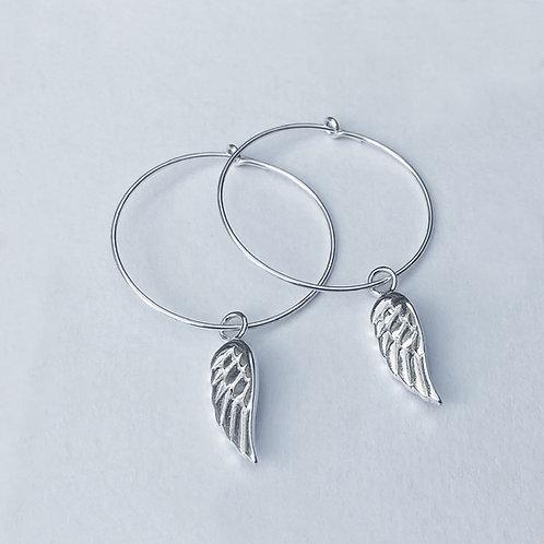 Seraphina Wing Hoop Earrings (Silver)
