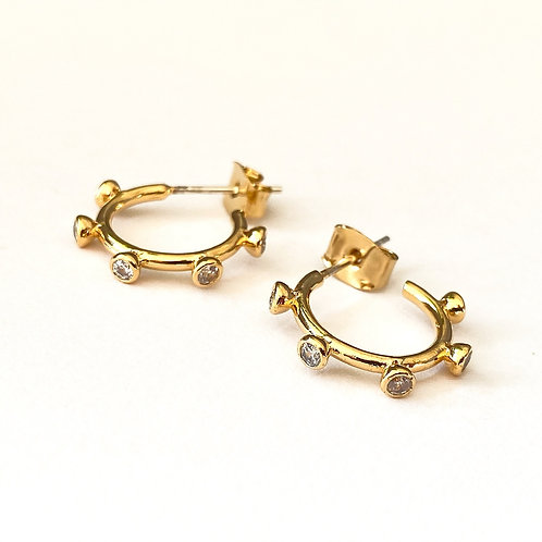Jewelled Orb Hoops in Gold