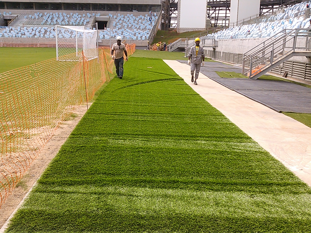 Artificial turf on surrounding areas