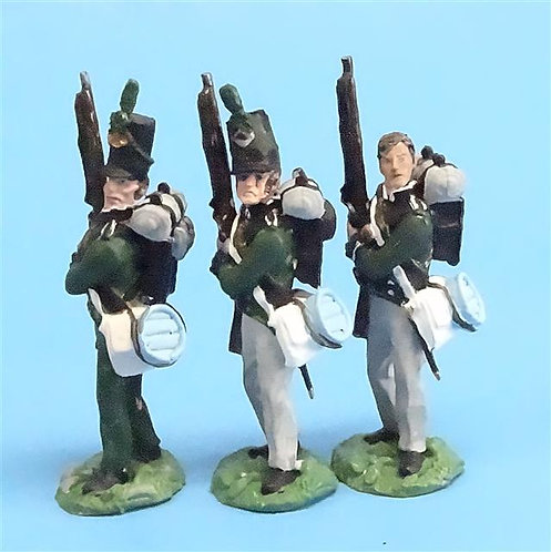 CORD-N0128 95th Rifles - Port Arms (3 Pieces) - All the King's Men - 54mm Metal