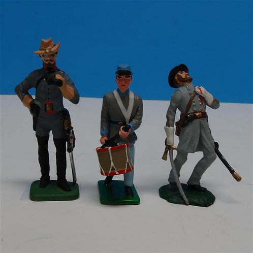 MI-266  3 Confederate Soldiers - ACW - Various Manufacturers 54mm Metal - No Box