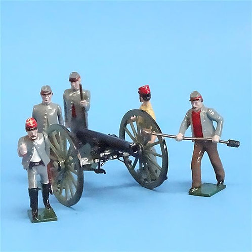 CORD-3033 - Confederate Artillery Crew (5 Figures - Tradition) & Gun