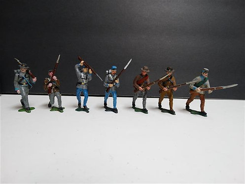 MI-159 - Confederate Infantry Marching, 7 Figures (Manufacturer Unknown, No Box)