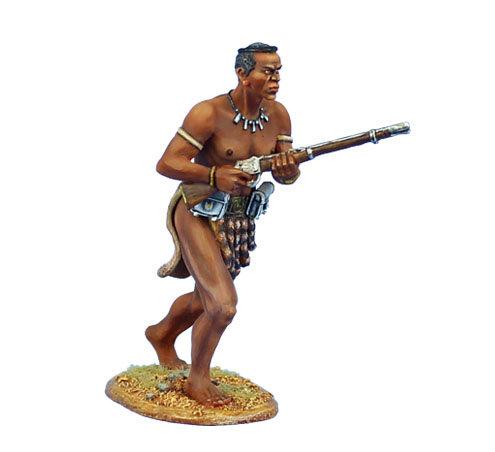 ZUL022 - uThulwana Zulu Warrior Advancing with Rifle