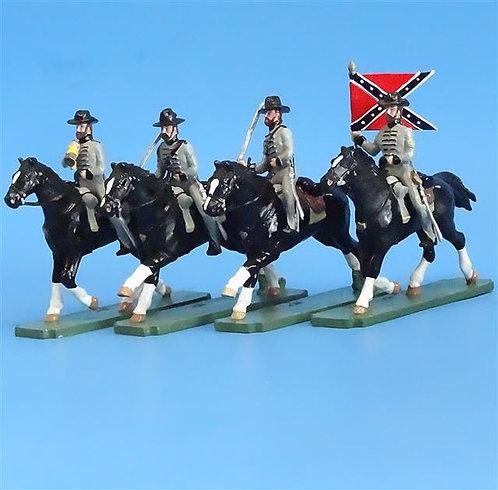 CORD-1046 - Confederate Cavalry (4 Figures) - ACW - Wall - 54mm Metal - No Box