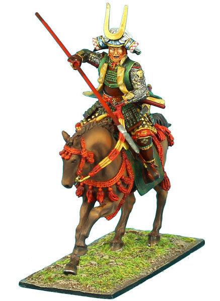 SAM023 - Mounted Samurai Charging with Yari and Jinbaori - Takeda Clan