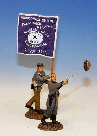 RAC.2 - 3rd Confederate Regiment, 2 Figures, Infantry Standard Parties
