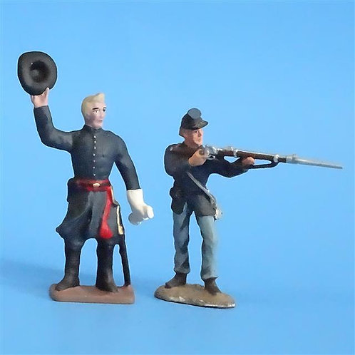 CORD-278 Union Infantry (2 Figures) - Unknown Manufacturer - 54mm Metal - No Box