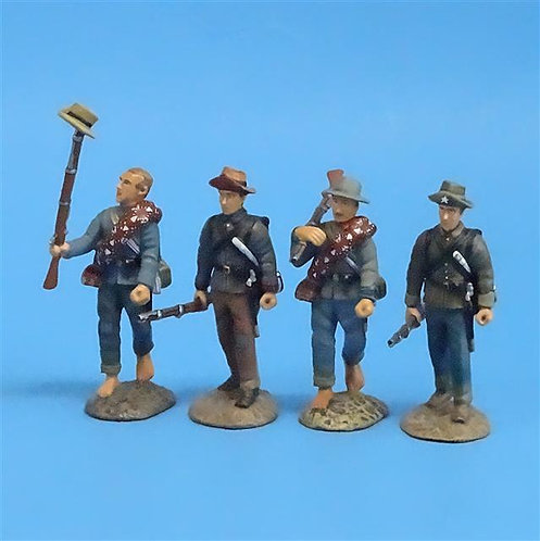 CORD-0519 - Confederates Marching (4 Figures) - ACW - Frontline - 54mm Metal