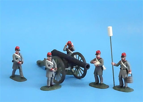 CORD-3013 - Confederate Siege Cannon w/ 5 Crew - ACW - Soldiers of the World