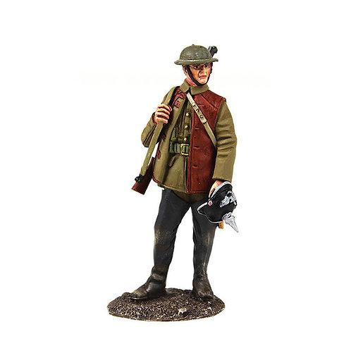 23111 - 1916-18 British Infantry Standing with Souvenir German Helmet