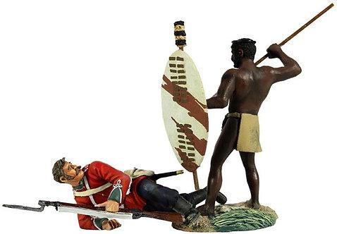 """20149 - """"No Quarter"""" - Zulu Warrior Spearing Down on British 24th Foot"""
