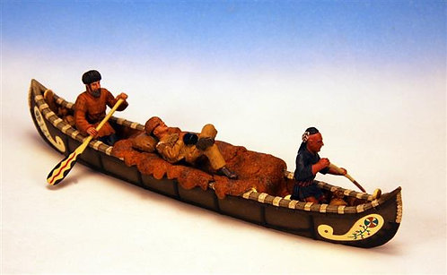 IWC.6 - 2 Trappers and 1 Indian Paddling Canoe, Woodland Indian Canoes