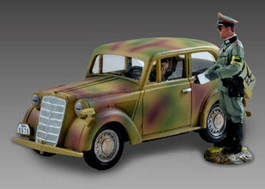 V007A - Light Staff Car 1937 Model with Driver and SS Officer - Normandy