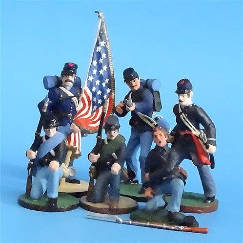 CORD-267 Union Infantry Vignette (6 Figures) - ACW - Niena - 54mm Metal - No Box