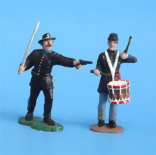 CORD-276 - Union Infantry Officer and Drummer (2 Figures) - Unknown Manufacturer