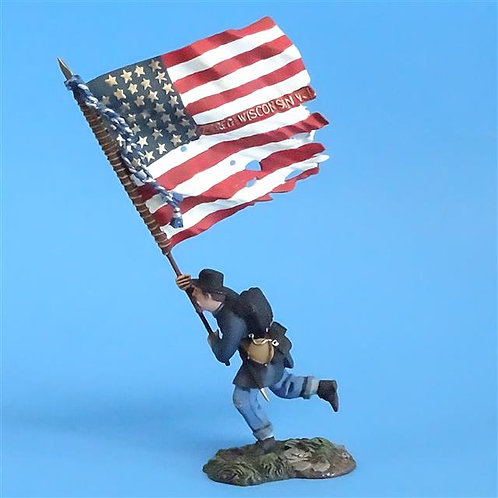 CORD-5029 - Union 2nd Wisconsin Flag Bearer - ACW - Britains - 54mm - Metal