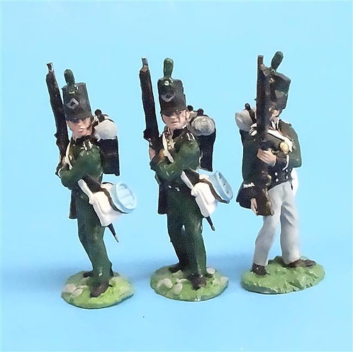 CORD-N0129 - 95th Rifles - Port Arms (3 Pieces) - All the King's Men 54mm Metal