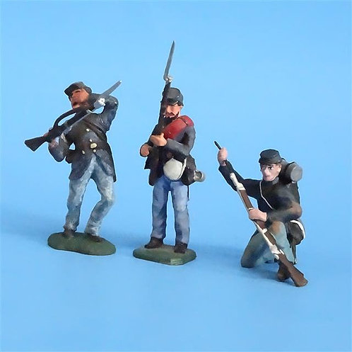CORD-279 Union Infantry Firing Line (3 Figs) - Unknown Manufacturer - 54mm Metal