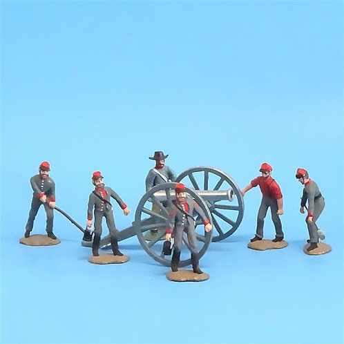 CORD-3035 Confederate Artillery Crew (6 Figures) and Gun (Unknown Manufacturer)