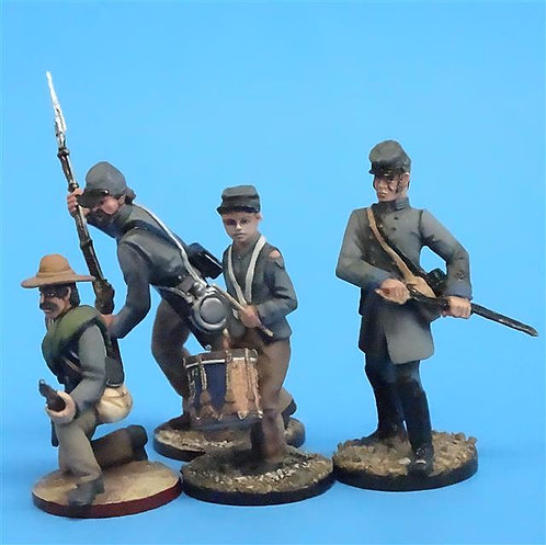 CORD-0732 Confederate Group (4 Figures) Level 3 Paint - ACW - Niena - 54mm Metal