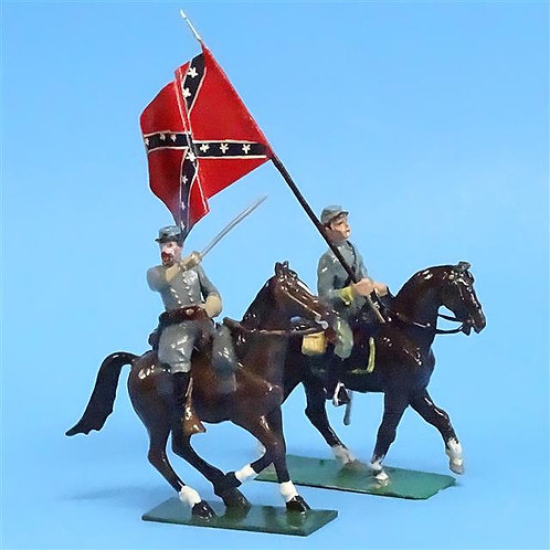 CORD-1108 - Confederate Officer and Flag Bearer (Mounted) - ACW - 54mm - Metal