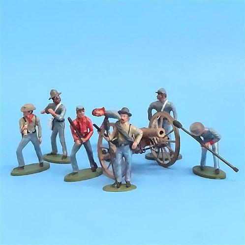 CORD-3039 Confederate Artillery Crew (7 Figures) and Gun (Unknown Manufacturer)