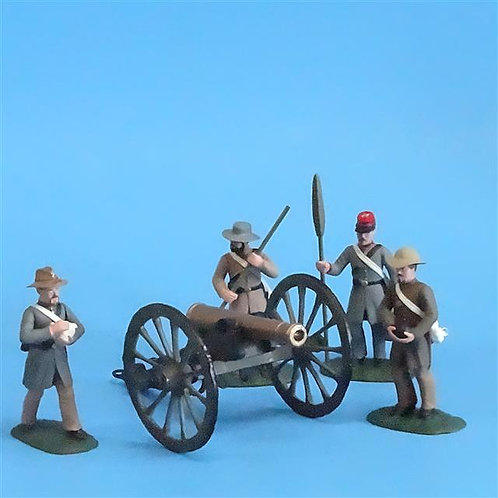 CORD-3014 Confederate Field Gun with 4 Crew - ACW - Soldiers of the World - 54mm