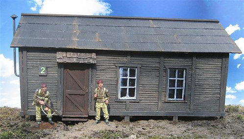 """CRN-001 - Barracks #1:  12""""x6""""x6"""", cast in rigid resin and hand painted."""