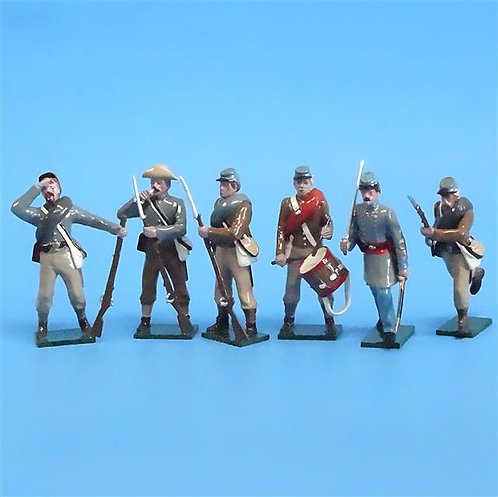 CORD-0740 Confederate Infantry (6 Figures) - ACW Tradition - 54mm Metal - No Box