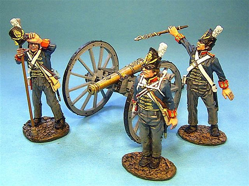 BCHART-01 - British Foot Artillery 3 Crew Firing (3pcs) (Gun not included)