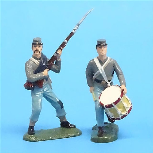CORD-0757 Confederate Soldier and Drummer (2 Figures) - ACW Unknown Manufacturer
