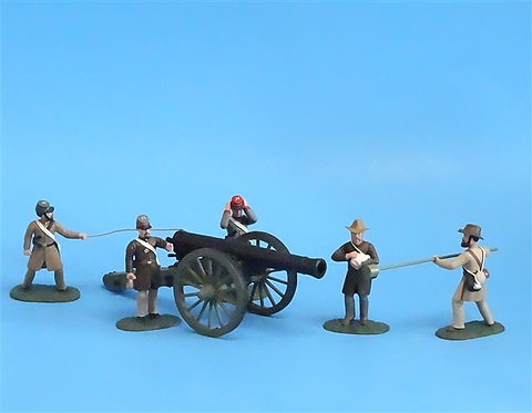 CORD-3011 - Confederate Siege Cannon with 5 Crew - ACW - Soldiers of the World