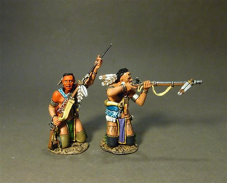 CAN-04A - Two Woodland Indians Kneeling, Loading and Firing A