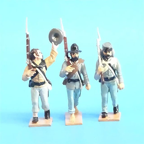 CORD-0592 - Confederates Marching (3 Figures) - ACW - Battle Line - 54mm Metal