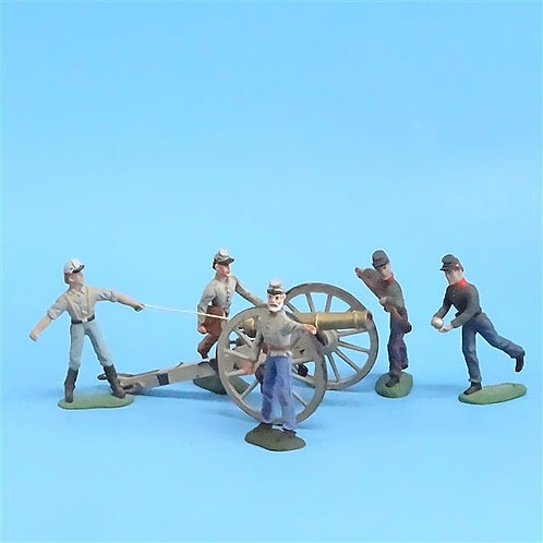 CORD-3037 Confederate Artillery Crew (5 Figures) and Gun (Unknown Manufacturer)