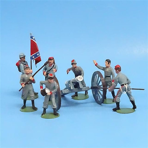 CORD-3031 - Confederate Artillery Crew (7 Figures - Alymer) and Gun