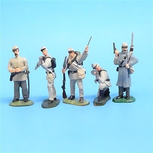 CORD-0587 - Confederate Firing Line (5 Figures) - ACW - LeMans - 54mm Metal