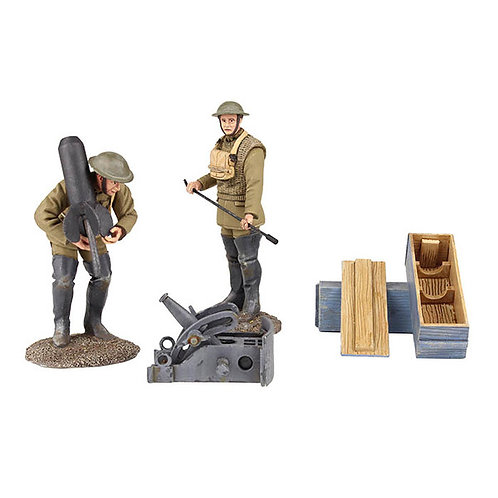 """23108 - 1917-18 U.S. Mortar Crew with French Crapouillot or """"Little Toad"""""""