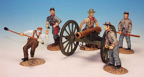 ACG.1 - Cannon with 5 Crew, Firing, Confederate Artillery