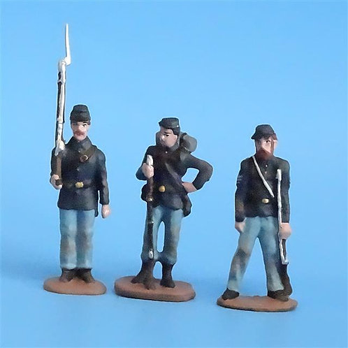 CORD-259 Union Infantry (3 Figures) - Unknown Manufacturer - 54mm Metal - No Box