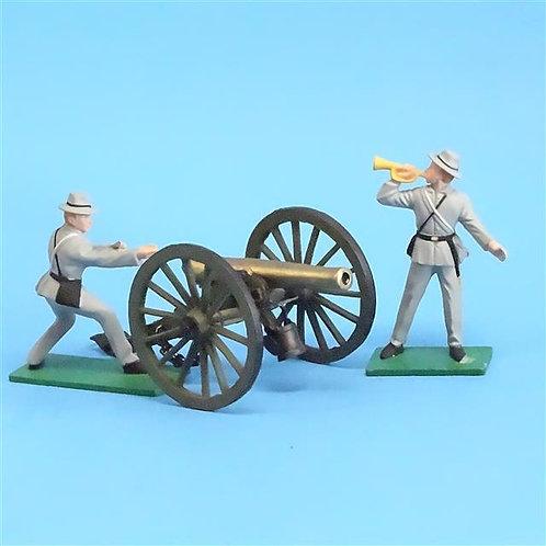 CORD-3049 2 Confederate Artillery Crew (Blue Box) and Gun (Britains) ACW - 54mm